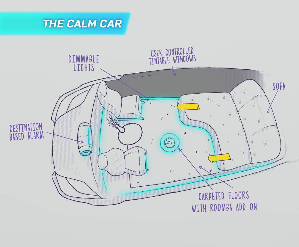 Calm driverless pod