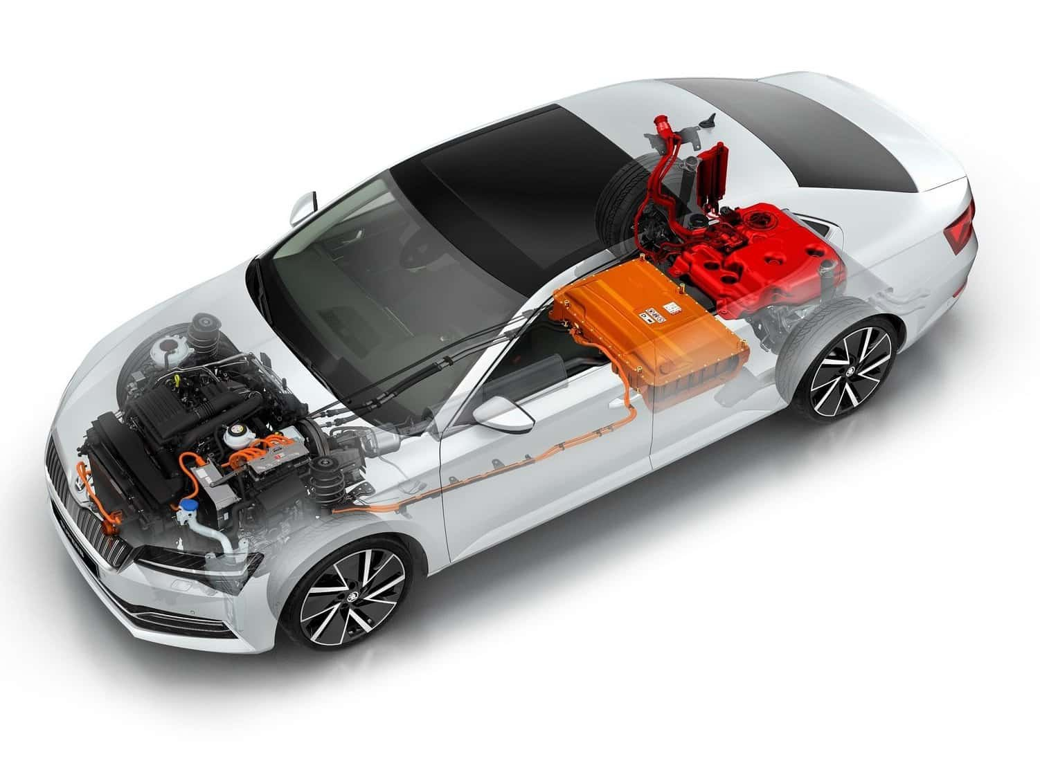Skoda Superb Cut Away drawing showing battery pack location