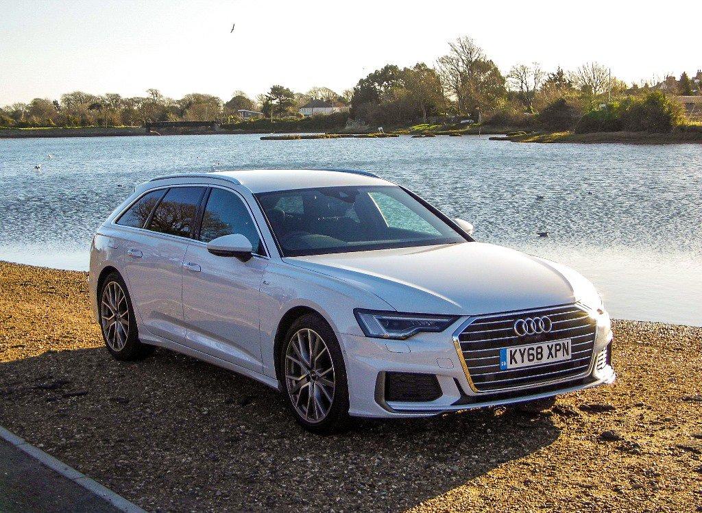 Audi A6 Avant White Front Corner