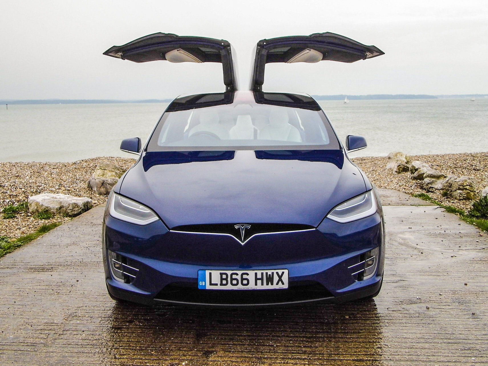 Tesla Model X falcon doors up.
