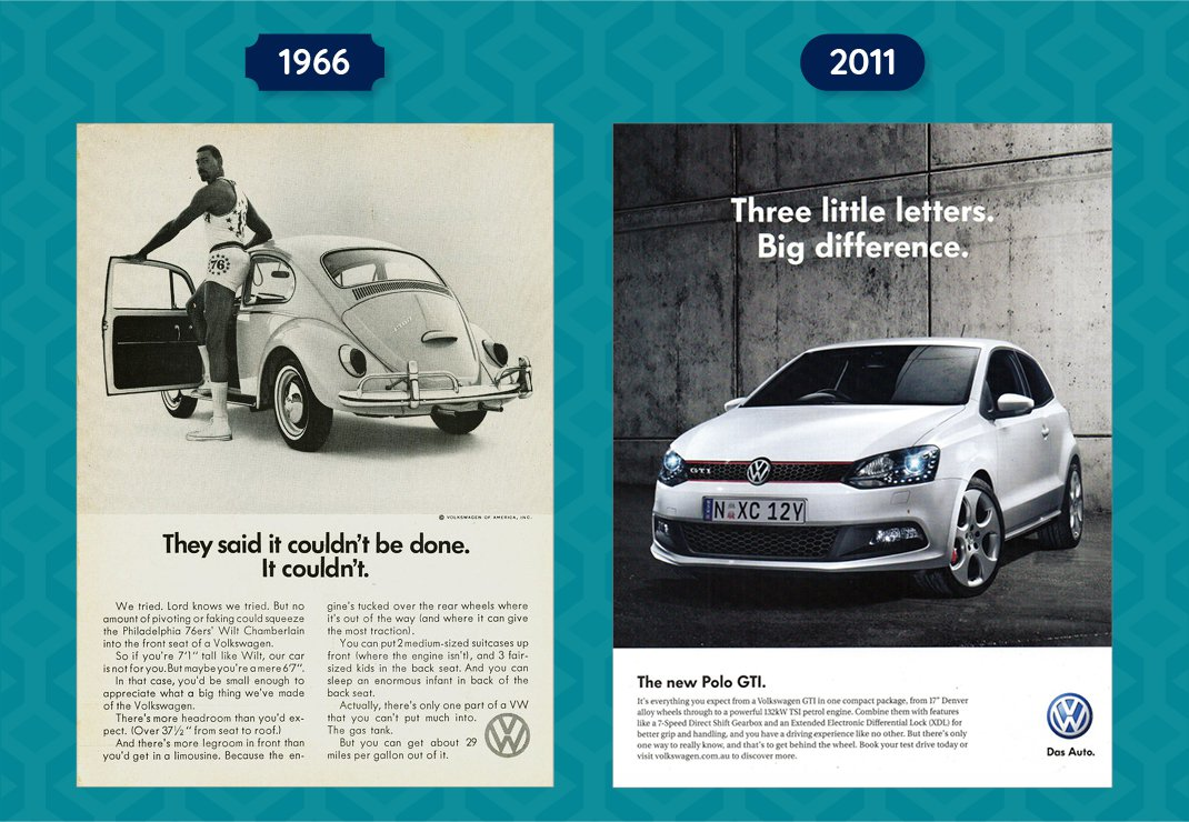 VW Beetle and VW Polo GTI Adverts Old vs New