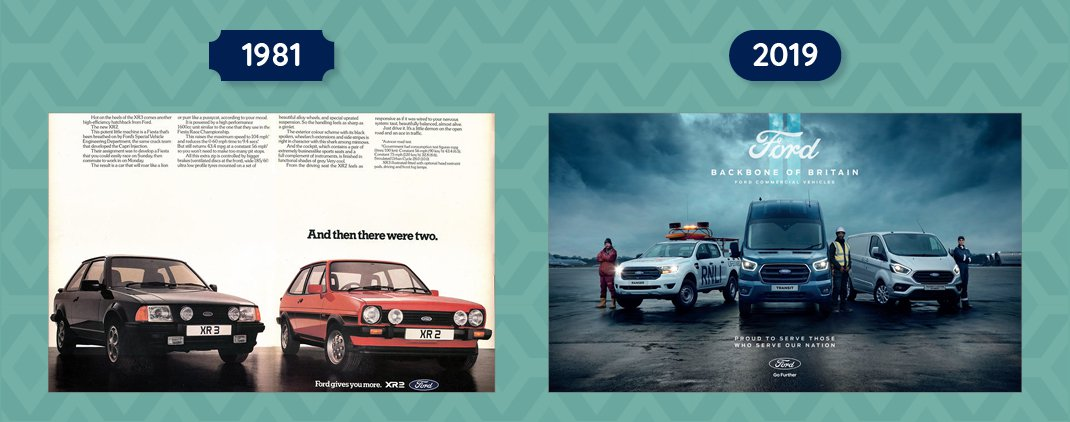 Ford Fiesta and Escort Advert from 1981 and Backbone of Britain 2019 advert
