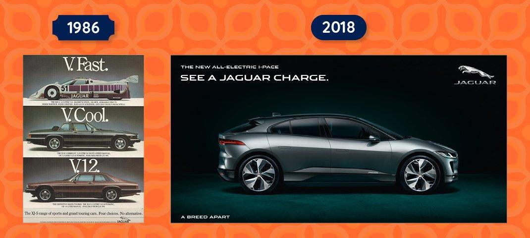 Jaguar Adverts 1986 and 2018